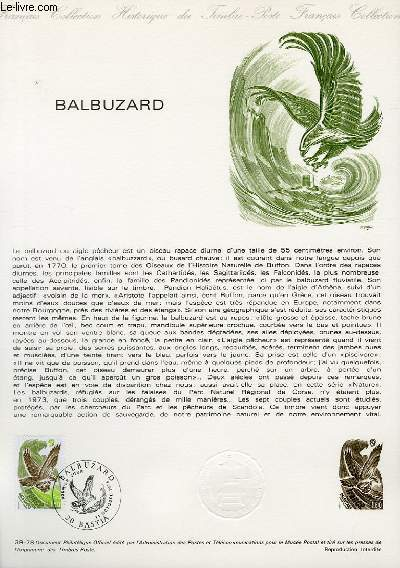DOCUMENT PHILATELIQUE OFFICIEL N�39-78 - BALBUZARD