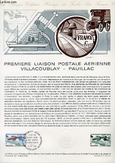 DOCUMENT PHILATELIQUE OFFICIEL N°40-78 - PREMIER LIAISON POSTALE AERIENNE VILLACOUBLAY-PAUILLAC (N°51 YVERT ET TELLIER)