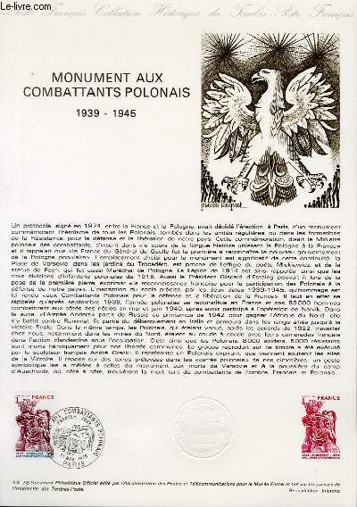 DOCUMENT PHILATELIQUE OFFICIEL N°43-78 - MONUMENTS AUX COMBATTANTS POLONAIS - 1939-1945 (N°2020 YVERT ET TELLIER)