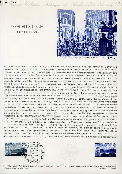 DOCUMENT PHILATELIQUE OFFICIEL N°44-78 - ARMISTICE 1918-1978 (N°2022 YVERT ET TELLIER)