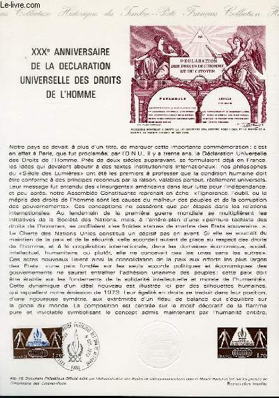 DOCUMENT PHILATELIQUE OFFICIEL N°48-78 - 30° ANNIVERSAIRE DE LA DECLARATION UNIVERSELLE DES DROITS DE L'HOMME (N°2027 YVERT ET TELLIER)