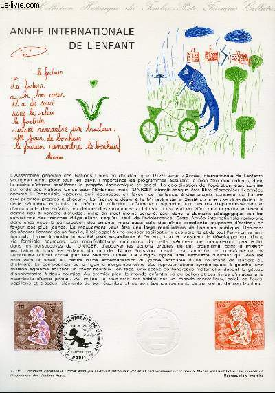 DOCUMENT PHILATELIQUE OFFICIEL N�01-79 - ANNEE INTERNATIONALE DE L'ENFANT (N�2028 YVERT ET TELLIER)