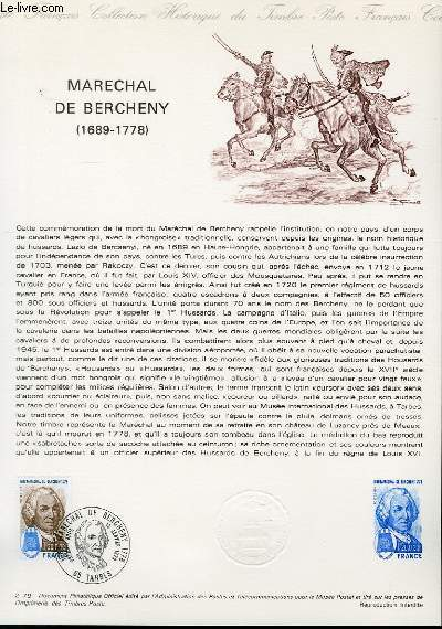DOCUMENT PHILATELIQUE OFFICIEL N�02-79 - MARECHAL DE BERCHENY 1689-1778 (N�2029 YVERT ET TELLIER)