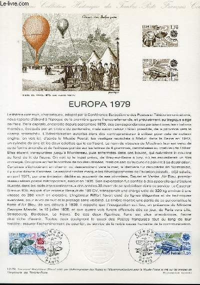 DOCUMENT PHILATELIQUE OFFICIEL N°12-79 - EUROPA 1979 - BALLON-POSTE - BOULES DE MOULINS (N°2046-47 YVERT ET TELLIER)