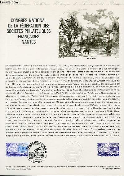 DOCUMENT PHILATELIQUE OFFICIEL N°13-79 - CONGRES NATIONAL DE LA FEDERATION DES SOCIETES PHILATELIQUES FRANCAISES NANTES (N°2048 YVERT ET TELLIER)