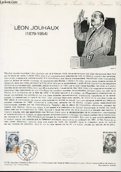 DOCUMENT PHILATELIQUE OFFICIEL N°14-79 - LEON JOUHAUX 1879-1954 (N°2030 YVERT ET TELLIER)