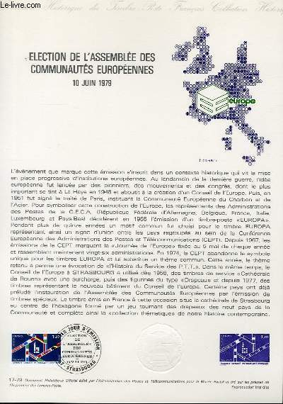DOCUMENT PHILATELIQUE OFFICIEL N°17-79 - ELECTION DE L'ASSEMBLEE DES COMMUNAUTES EUROPEENNES 10 JUIN 1979 (N°205 YVERT ET TELLIER)