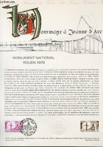 DOCUMENT PHILATELIQUE OFFICIEL N°18-79 - HOMMAGE A JEANNE D'ARC - MONUMENT NATIONAL ROUEN 1979 (N°2051 YVERT ET TELLIER)