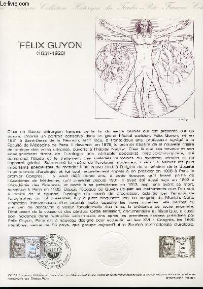 DOCUMENT PHILATELIQUE OFFICIEL N°22-79 - FELIX GUYON 1831-1920 (N°205 YVERT ET TELLIER)