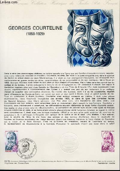 DOCUMENT PHILATELIQUE OFFICIEL N°23-79 - GEORGES COURTELINE 1858-1929 (N°2032 YVERT ET TELLIER)