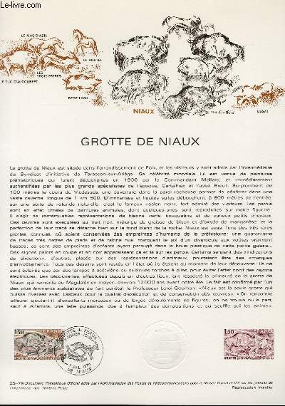 DOCUMENT PHILATELIQUE OFFICIEL N�25-79 - GROTTE DE NIAUX (N�2043 YVERT ET TELLIER)