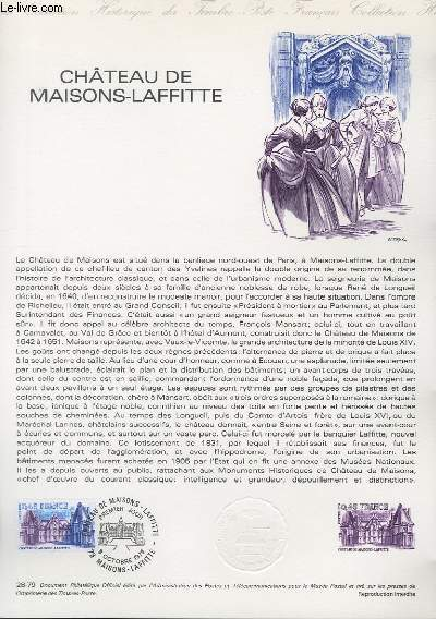 DOCUMENT PHILATELIQUE OFFICIEL N°28-79 - CHATEAU DE MAISONS LAFFITTE (N°2064 YVERT ET TELLIER)