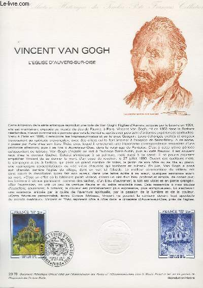 DOCUMENT PHILATELIQUE OFFICIEL N°29-79 - VINCENT VAN GOGH - L'EGLISE D'AUVERS SUR OISE (N°2055 YVERT ET TELLIER)