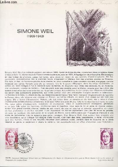 DOCUMENT PHILATELIQUE OFFICIEL N°30-79 - SIMONE WEIL 1909-1943 (N°2032A YVERT ET TELLIER)