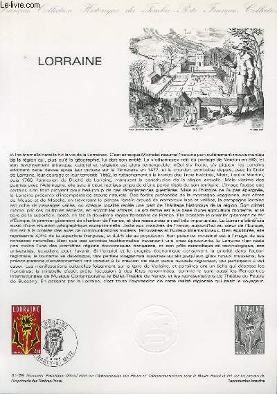 DOCUMENT PHILATELIQUE OFFICIEL N°31-79 - LORRAINE [N°2065 YVERT ET TELLIER)