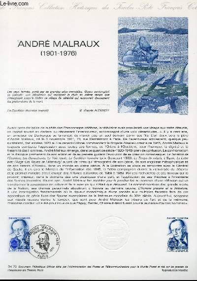DOCUMENT PHILATELIQUE OFFICIEL N�34-79 - ANDRE MALRAUX 1901-1976 (N�2032A YVERT ET TELLIER)