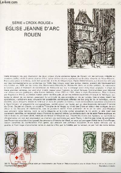 DOCUMENT PHILATELIQUE OFFICIEL N°36-79 - SERIE CROIX ROUGE - EGLISE JEANNE D'ARC ROUEN (N°2070-71 YVERT ET TELLIER)
