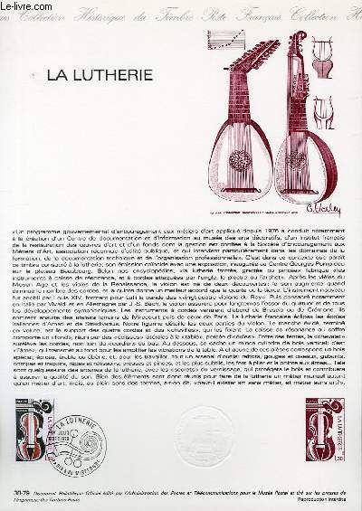 DOCUMENT PHILATELIQUE OFFICIEL N°38-79 - LA LUTHERIE (N°2072 YVERT ET TELLIER)