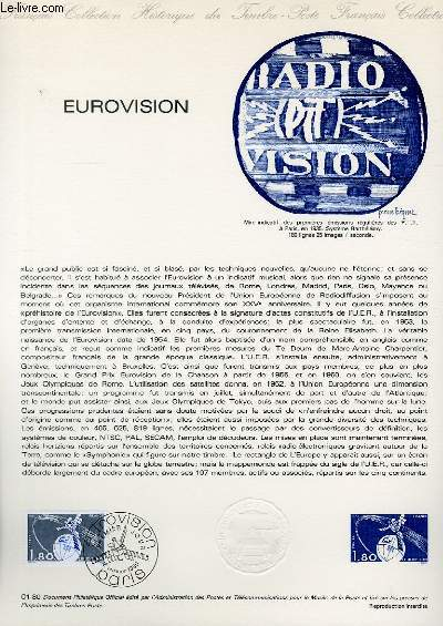 DOCUMENT PHILATELIQUE OFFICIEL N°01-80 - EUROVISION (N°2073 YVERT ET TELLIER)