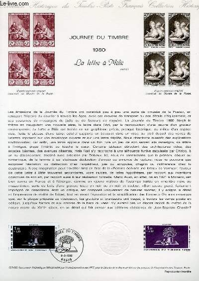 DOCUMENT PHILATELIQUE OFFICIEL N°07-80 - JOUNEE DU TIMBRE 1980 LA LETTRE A MELIE AVATI (N°2078 YVERT ET TELLIER)