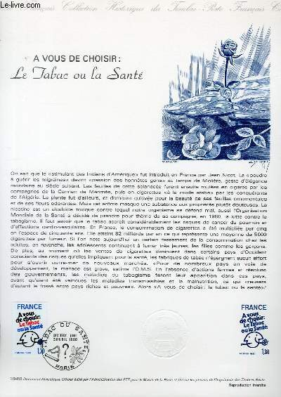 DOCUMENT PHILATELIQUE OFFICIEL N°10-80 - A VOUS DE CHOISIR : LE TABAC OU LA SANTE (N°2080 YVERT ET TELLIER)
