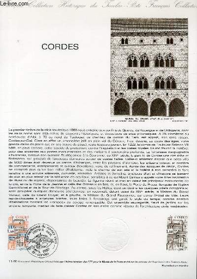 DOCUMENT PHILATELIQUE OFFICIEL N°11-80 - BASTIDE DES CORDES (N°2081  YVERT ET TELLIER)