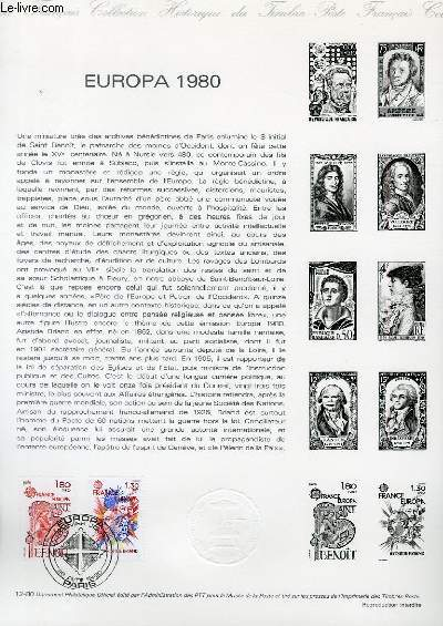 DOCUMENT PHILATELIQUE OFFICIEL N°12-80 - EUROPA 1980 SAINT BENOIT (N°2085-86 YVERT ET TELLIER)