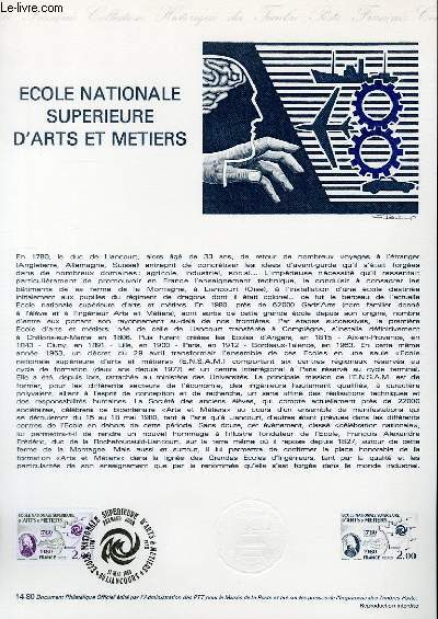 DOCUMENT PHILATELIQUE OFFICIEL N°14-80 - ECOLE NATIONALE SUPERIEURE D'ART ET METIERS (N°2087 YVERT ET TELLIER)