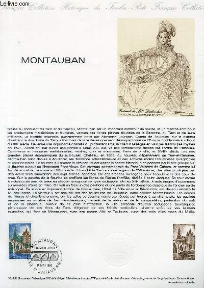 DOCUMENT PHILATELIQUE OFFICIEL N�15-80 - MONTAUBAN (N�2083 YVERT ET TELLIER)