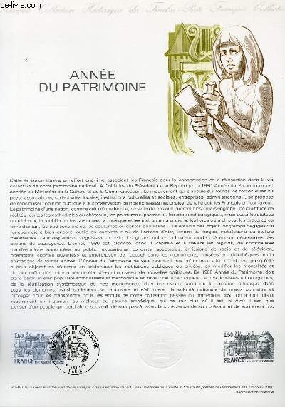 DOCUMENT PHILATELIQUE OFFICIEL N°21-80 - ANNEE DU PATRIMOINE (N°2092 YVERT ET TELLIER)