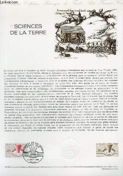 DOCUMENT PHILATELIQUE OFFICIEL N�22-80 - SCIENCES DE LA TERRE (N�2093 YVERT ET TELLIER)