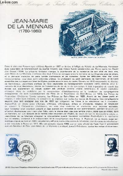 DOCUMENT PHILATELIQUE OFFICIEL N°26-80 - JEAN-MARIE DE LA MENNAIS 1780-1860 (N°2097 YVERT ET TELLIER)