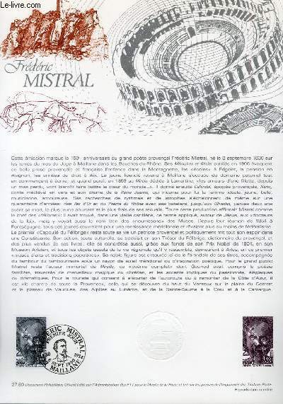 DOCUMENT PHILATELIQUE OFFICIEL N°27-80 - FREDERIC MISTRAL (N°2098 YVERT ET TELLIER)