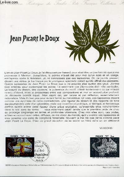 DOCUMENT PHILATELIQUE OFFICIEL N°28-80 - JEAN PICART LE DOUX (N°2107 YVERT ET TELLIER)