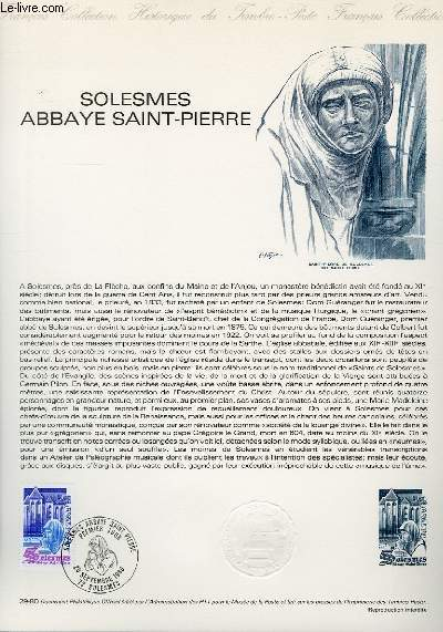 DOCUMENT PHILATELIQUE OFFICIEL N�29-80 - SOLESMES ABBAY SAINT-PIERRE (N�2112 YVERT ET TELLIER)
