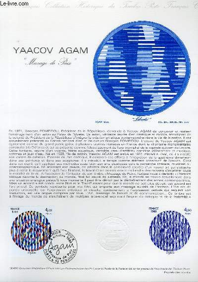 DOCUMENT PHILATELIQUE OFFICIEL N�30-80 - YAACOV AGRAM