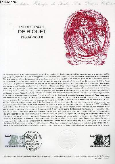 DOCUMENT PHILATELIQUE OFFICIEL N°31-80 - PIERRE PAUL DE RIQUET 1604-1680 (N°2100 YVERT ET TELLIER)