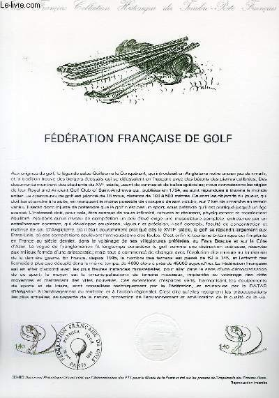 DOCUMENT PHILATELIQUE OFFICIEL N�33-80 - FEDERATION FRANCAISE DE GOLF (N�2105 YVERT ET TELLIER)