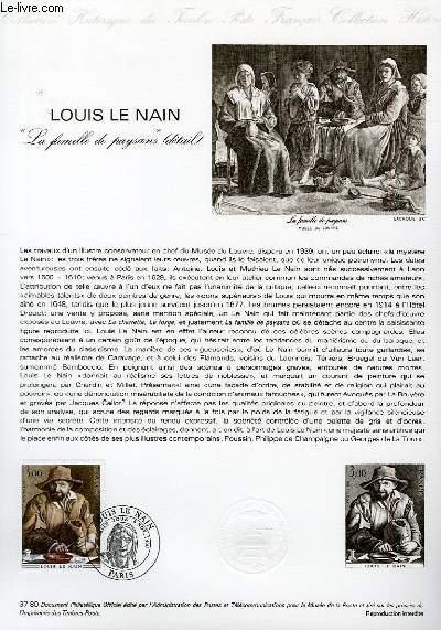 DOCUMENT PHILATELIQUE OFFICIEL N°37-80 - LOUIS LE NAIN
