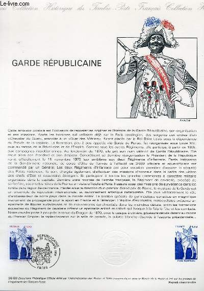 DOCUMENT PHILATELIQUE OFFICIEL N°38-80 - GARDE REPUBLICAINE (N°2115 YVERT ET TELLIER)