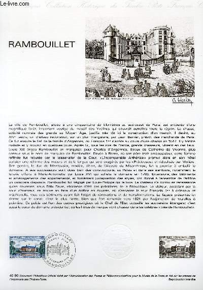 DOCUMENT PHILATELIQUE OFFICIEL N°40-80 - CHATEAU DE RAMBOUILLET (N°2111 YVERT ET TELLIER)