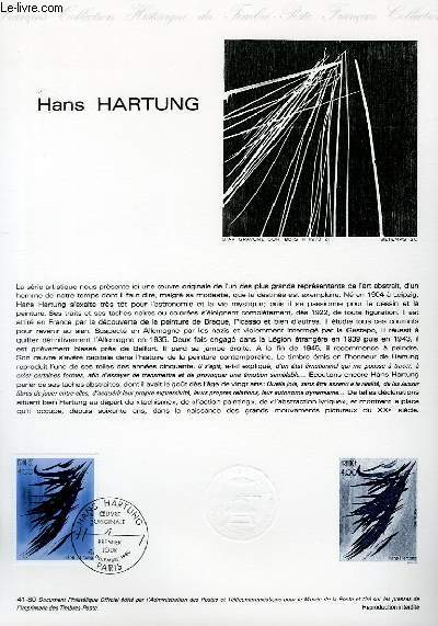 DOCUMENT PHILATELIQUE OFFICIEL N°41-80 - HANS HARTUNG (N°2110 YVERT ET TELLIER)