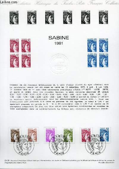 DOCUMENT PHILATELIQUE OFFICIEL N°01-81 - SABINE 1981 (N°2118-23 YVERT ET TELLIER)