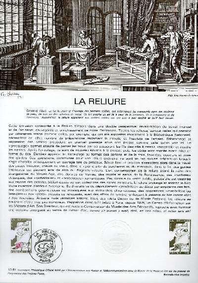 DOCUMENT PHILATELIQUE OFFICIEL N�13-81 - LA RELIURE (N�2131 YVERT ET TELLIER)