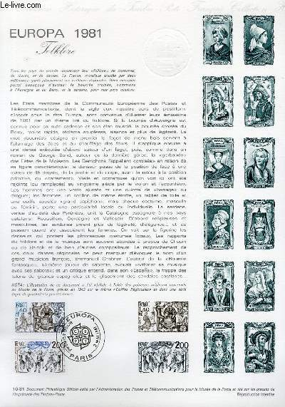 DOCUMENT PHILATELIQUE OFFICIEL N�16-81 - EUROPA 1981 FOLKLORE (N�2138-39 YVERT ET TELLIER)