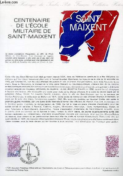 DOCUMENT PHILATELIQUE OFFICIEL N°17-81 - CENTENAIRE DE L'ECOLE MILITAIRE DE SAINT MAIXENT (N°2140 YVERT ET TELLIER)