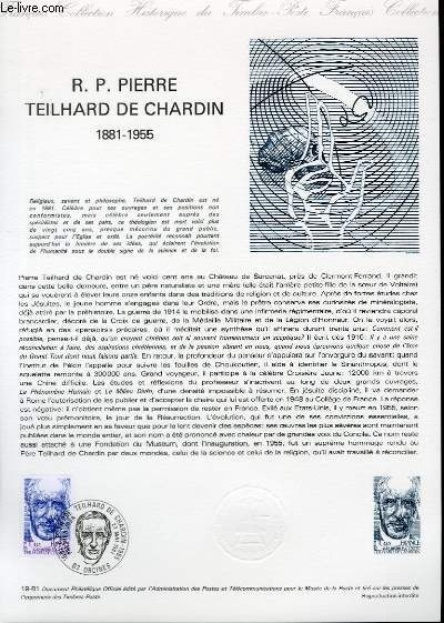 DOCUMENT PHILATELIQUE OFFICIEL N°19-81 - R. P. PIERRE TEILHARD DE CHARDIN 1881-1955 (N°2152 YVERT ET TELLIER)