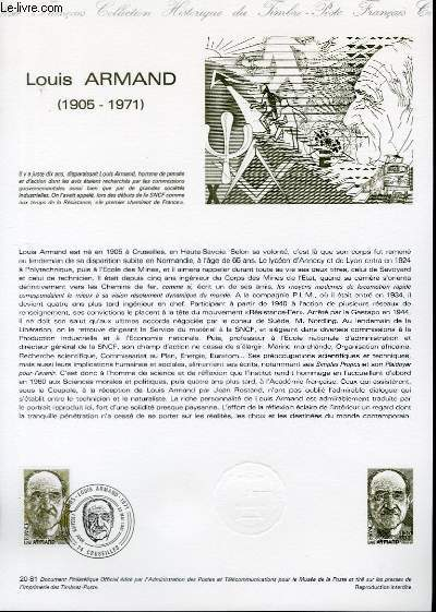 DOCUMENT PHILATELIQUE OFFICIEL N°20-81 - LOUIS ARMAND 1905-1971 (N°2148 YVERT ET TELLIER)