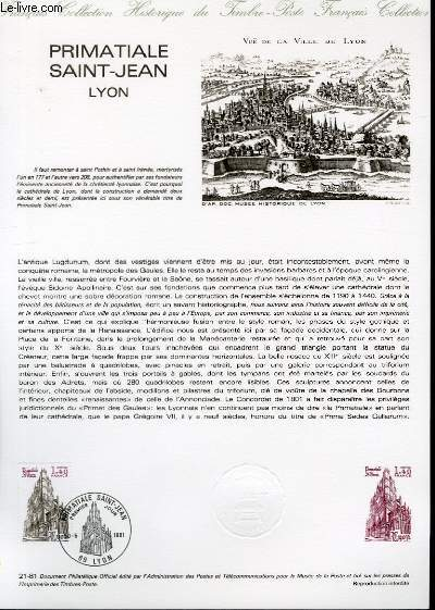 DOCUMENT PHILATELIQUE OFFICIEL N°21-81 - PRIMATIALE SAINT-JEAN LYON (N°2132 YVERT ET TELLIER)