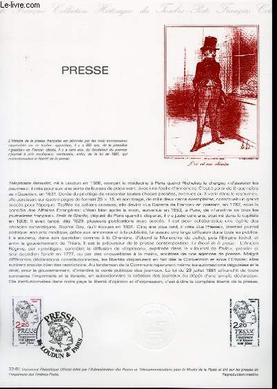 DOCUMENT PHILATELIQUE OFFICIEL N°22-81 - LA GAZETTE PRESSE (N°2143 YVERT ET TELLIER)